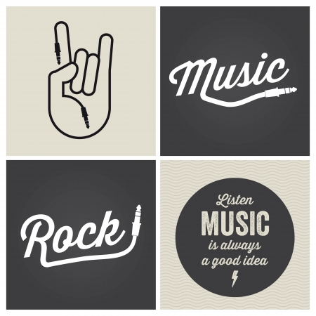 music dj: logo music design elements with font type and illustration