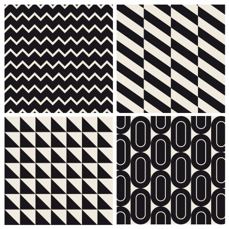 seamless pattern background set retro vintage design  Illustration