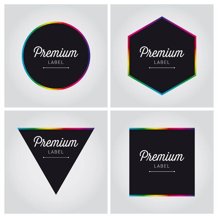 editable sign: premium quality label set editable Illustration