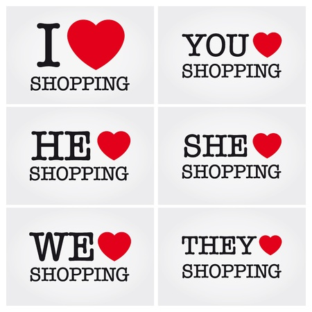 i love shopping, font type with signs, stickers and tags Vector