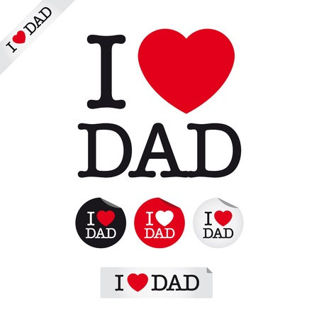 fathers day: happy fathers day, i love dad, font type with signs, stickers and tags Illustration