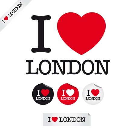 i love london, font type with signs, stickers and tags Vector