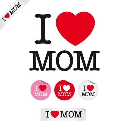 retro type: happy mothers day, i love mom, font type with signs, stickers and tags