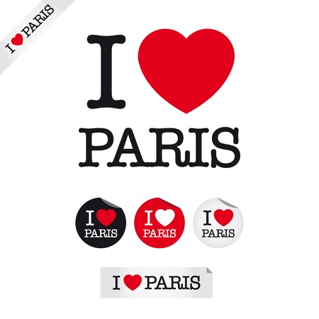 i love paris: i love paris, font type with signs, stickers and tags Illustration