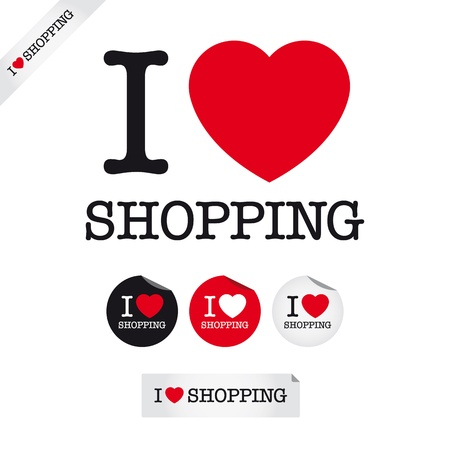 i love shopping, font type with signs, stickers and tags Illustration