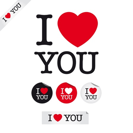 i love you, font type with signs, stickers and tags