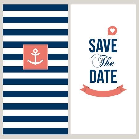 marinero: tarjeta de invitaci�n de la boda Ahorre la fecha, tema marinero texto y color editable