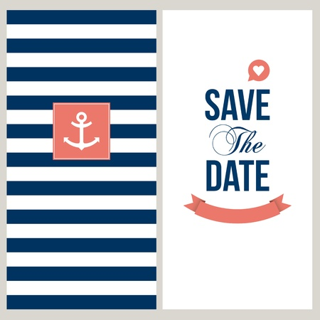 wedding invitation card  Save the date, sailor theme  Text and color editable  Vector