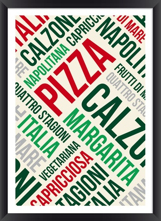 pizza: Pizza palabras poster nube