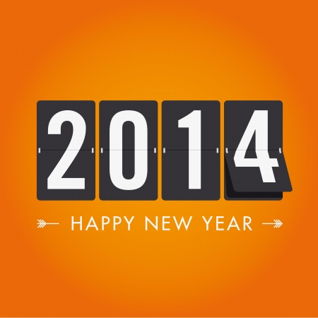 Happy new year 2014 mechanical timetable in movement Vector