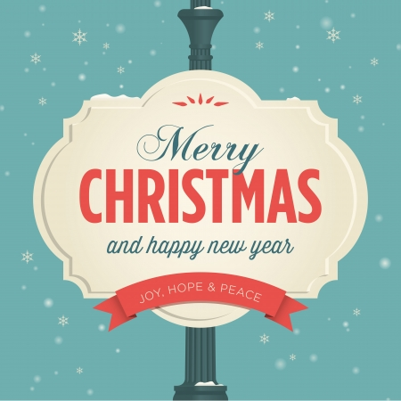 Merry christmas card retro vintage Stock Vector - 22497593