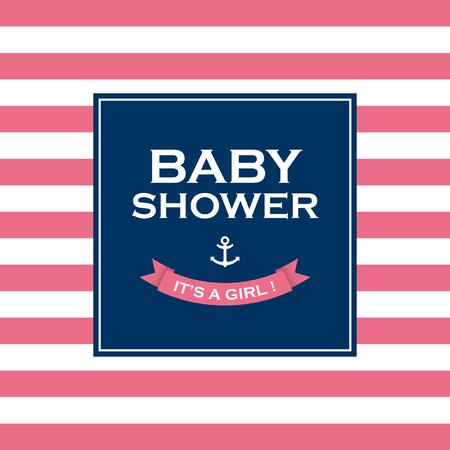 shower room: Baby shower card invitation, it�s a girl  Vector design elements editable  Illustration