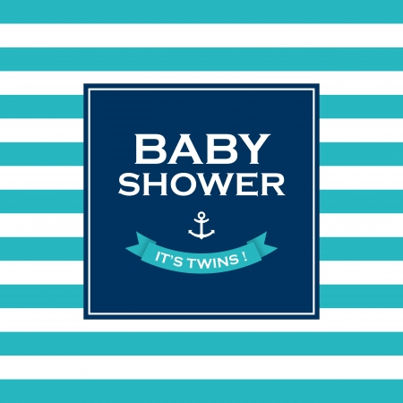 sailors: Baby shower card invitation, it�s a twin  Vector design elements editable