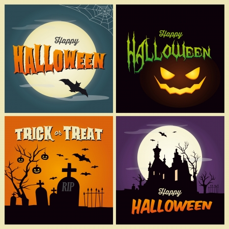 Happy Halloween cards Vector