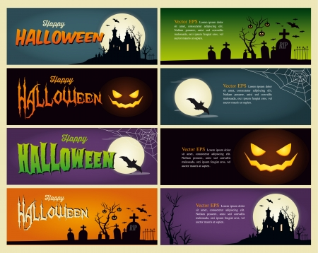 Happy Halloween banner Stock Illustratie