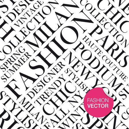 밀라노: 패션 벡터 배경, 단어 구름