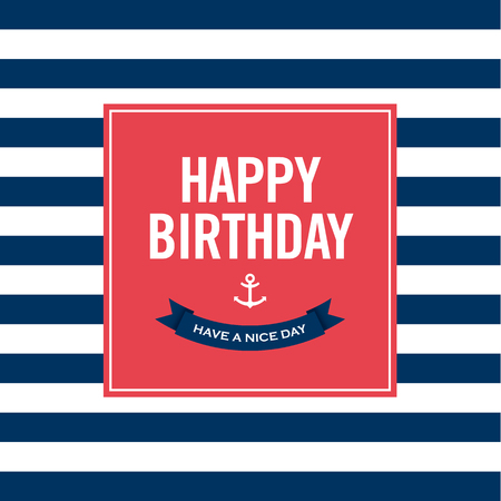 Happy birthday invitation card  Sailor theme  Text and color editable   Vector