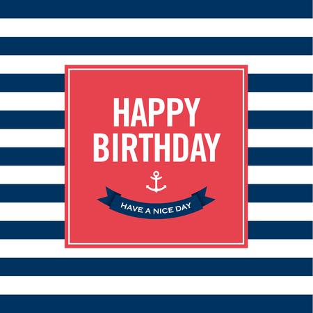 editable invitation: Happy birthday invitation card  Sailor theme  Text and color editable   Illustration