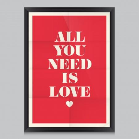 liebe: Liebe Zitatplakat Effects Plakat, Rahmen, Farben, Hintergrund und Farben Text sind editierbar Happy Valentines Karte Hochzeitseinladung Illustration