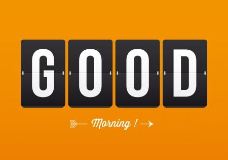 buonanotte: Buongiorno, meccanica pannello lettere tipografia, font, il tipo vettoriale vintage retr� Vettoriali