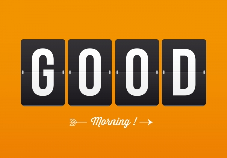 Good morning, mechanical panel letters  Typography, font, type vector vintage retro  Vector
