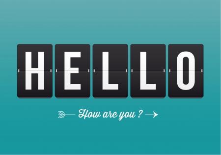 dattel: Hallo, mechanische Panel Buchstaben Typographie, Schriftart, Vektor-Retro- Illustration