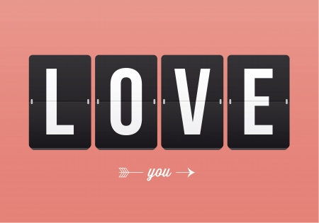 thank you card: I love you, mechanical panel letters  Typography, font, type vector vintage retro