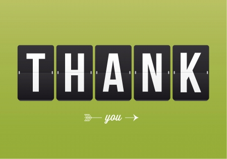 opening party: Thank you card, mechanical panel letters  Typography, font, type vector vintage retro  Illustration