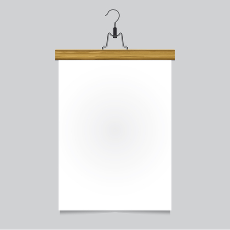 Poster template with wood hanger vector design  Easy to edit with your picture
