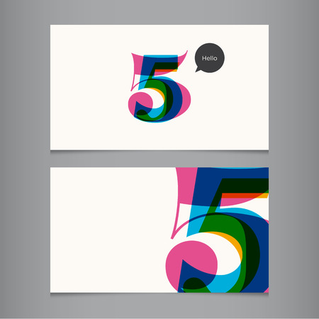 number five: Business card template with number, color editable  Ideal for independent worker, company, shop, restaurant
