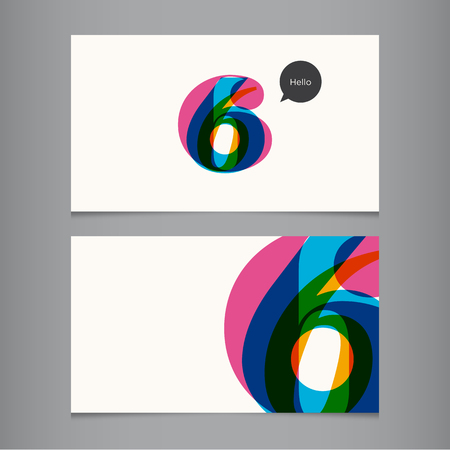 number six: Business card template with number, color editable  Ideal for independent worker, company, shop, restaurant