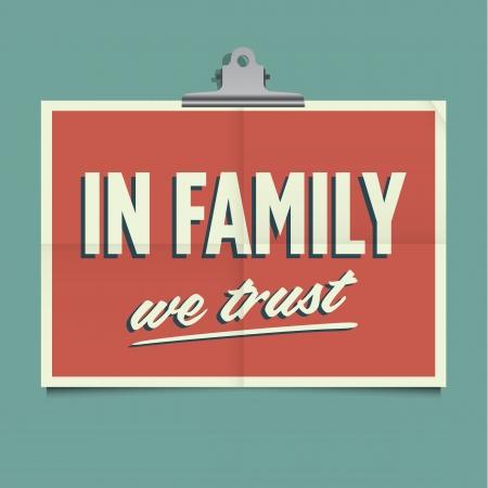 In family we trust, folded poster  Retro vintage vector design
