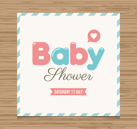 baby card: Baby shower card, balloons type font vector design