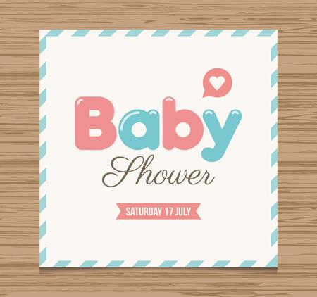 babies: Baby shower card, balloons type font vector design