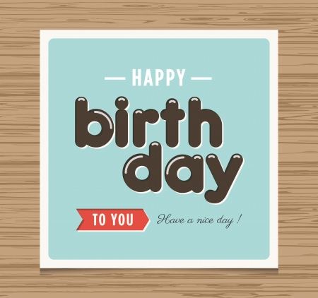 birthday card: Happy birthday card, balloons type font vector design