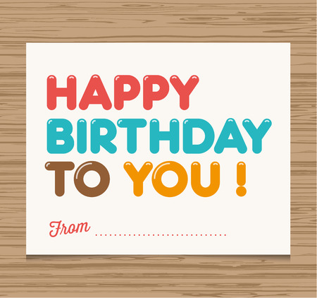 Happy birthday card, balloons type font vector design Vector