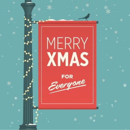 Merry christmas card retro vintage Illustration