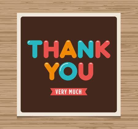 thank you card: Thank you card, balloons type font vector design