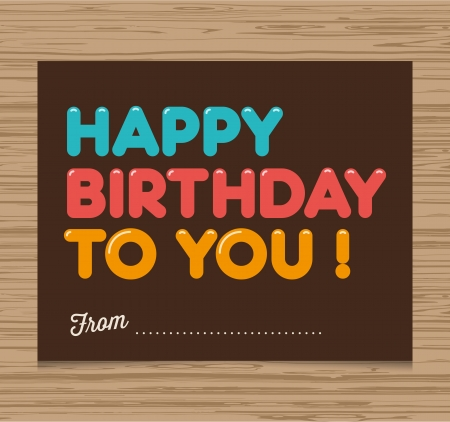 birthday candles: Happy birthday card, balloons type font vector design