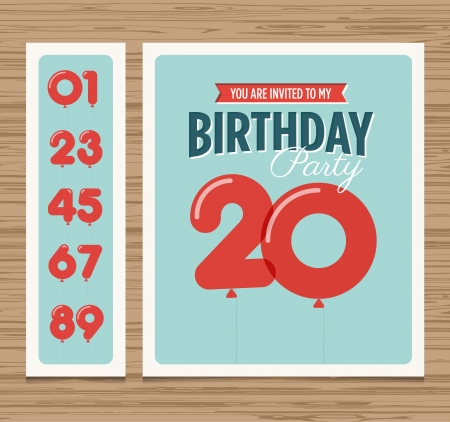 balloons: Birthday party invitation card, balloons numbers, vector design template