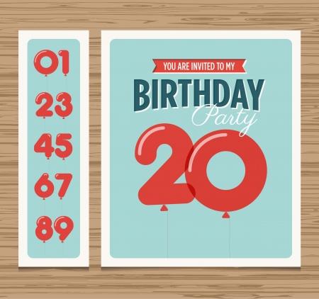 urodziny: Karta urodziny zaproszenie, numery balony, wektor szablon