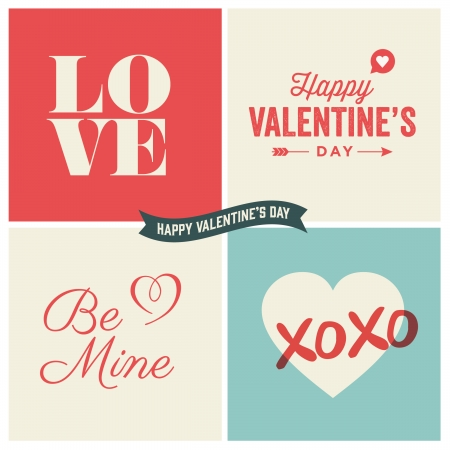 love cartoon: Valentine s day illustrations and typography elements