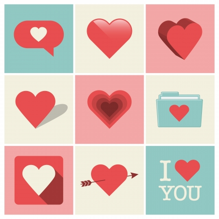 Heart icons, Valentine s day and wedding illustrations Vector