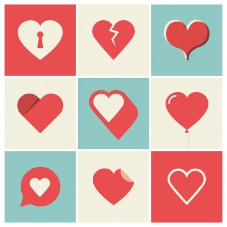 corazon: Iconos del corazón, día de San Valentín s e ilustraciones de boda