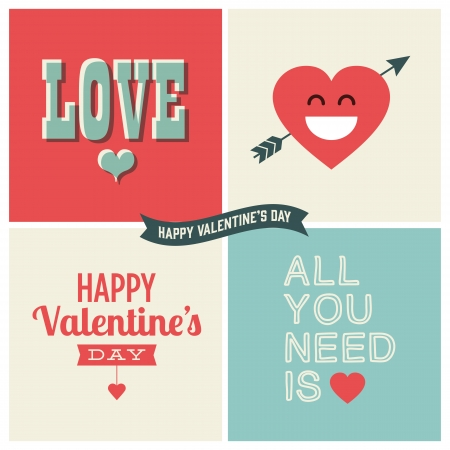 Valentine s day illustrations and typography elements Vector