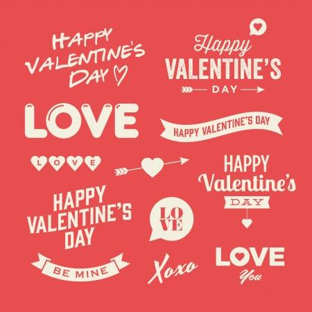 バレンタインの s 日のイラスト、タイポグラフィーの要素  イラスト・ベクター素材