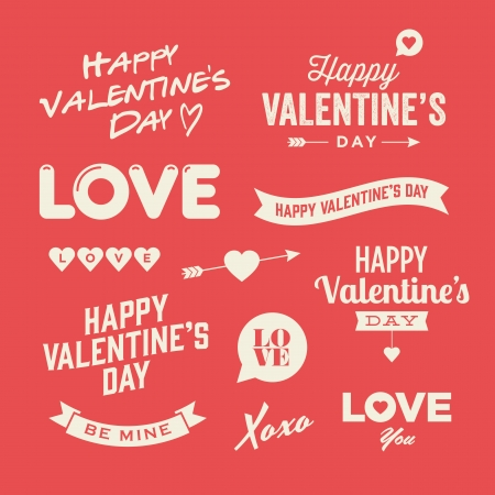 valentine s day: Valentine s day illustrations and typography elements