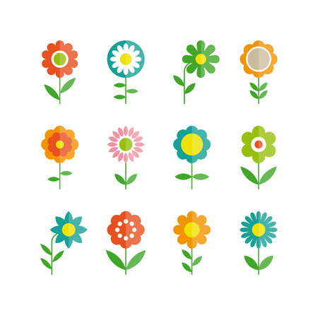 colorful flowers: flowers vector design  Set of floral icon