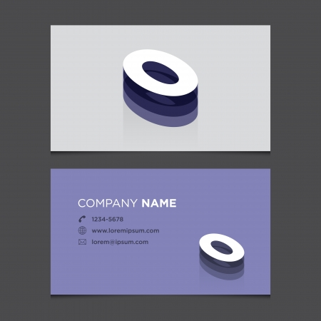 Business card with alphabet number 0  Vector template editable  Vintage design   Vector