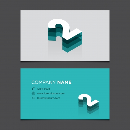 Business card with alphabet number 2  Vector template editable  Vintage design   Vector